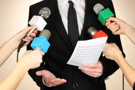 Conference meeting microphones and businessman photo