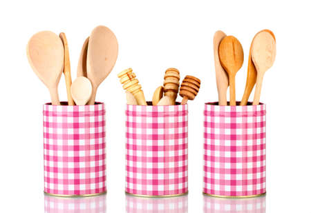 Utensils in metal containers isolated on white Stock Photo - 16692256