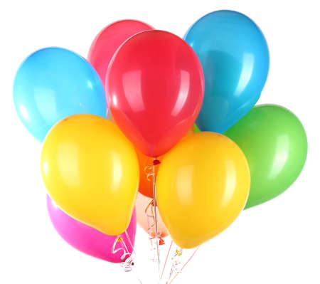 flotation: Colorful balloons isolated on white