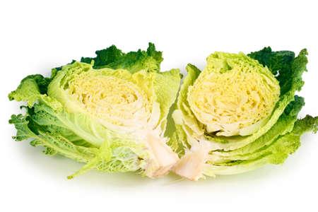 Fresh cut savoy cabbage isolated on white Stock Photo - 16726030