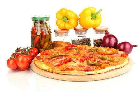 Tasty pepperoni pizza with vegetables on wooden board isolated on white photo