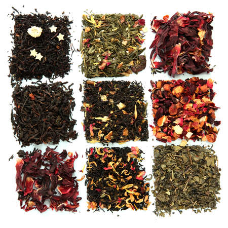 assortment of dry tea, isolated on white photo