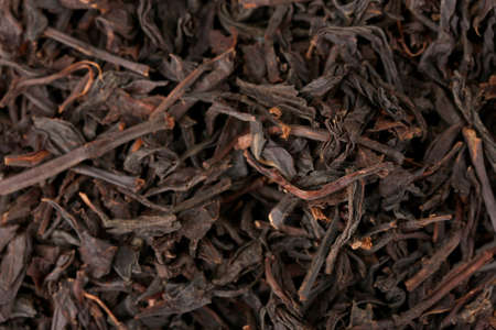 aromatic black dry tea, close up photo