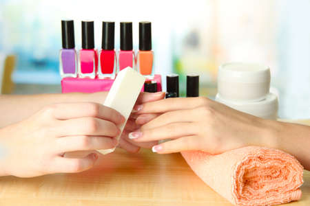 manicure: Manicure process in beauty salon, close up
