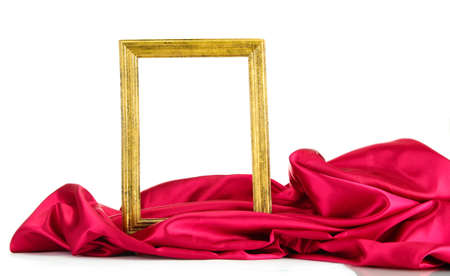 satiny: empty frame with silk, isolated on white