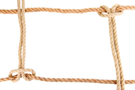 Frame composed of rope isolated on white photo