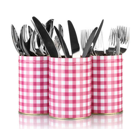 Utensils in metal containers isolated on white Stock Photo - 16751835