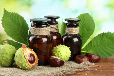 botanical medicine: medicine bottles with chestnuts and leaves, on green background