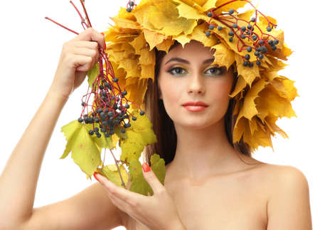 beautiful young woman with yellow autumn wreath, isolated on white Stock Photo - 17051870