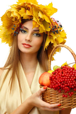 beautiful woman with wreath and basket with apples and berries, isolated on white Stock Photo - 17051871