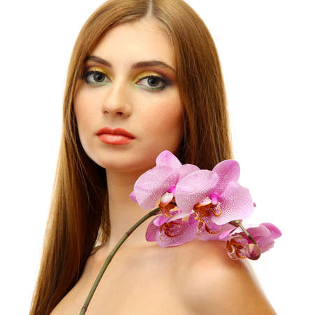 portrait of sexy young woman with pink orchid flower, isolated on white Stock Photo - 17051809