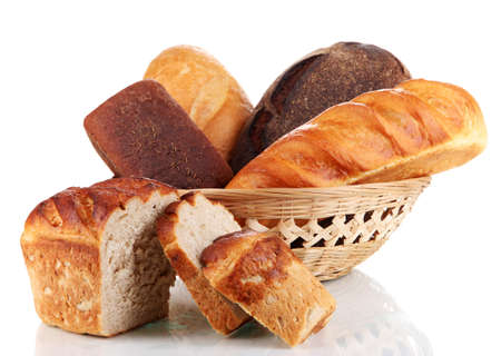 Fresh bread in basket isolated on white Stock Photo - 16739738