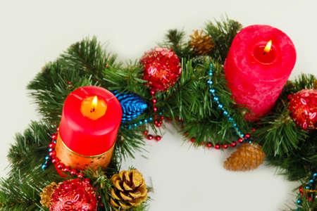 Beautiful Christmas wreath isolated on white Stock Photo - 16739651