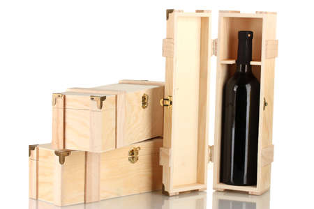 Wine bottle in wooden box, isolated on white Stock Photo - 16739479