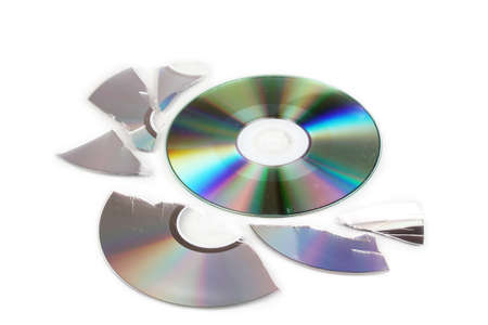 Broken and whole disks with information isolated on white Stock Photo - 16830382