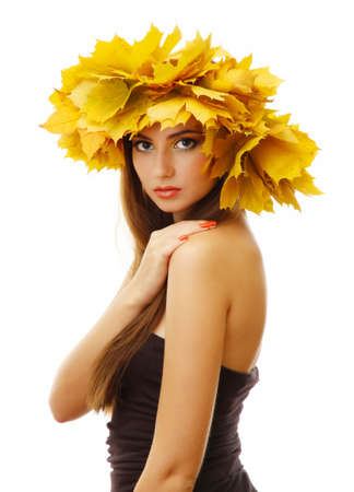 beautiful young woman with yellow autumn wreath, isolated on white Stock Photo - 17051895