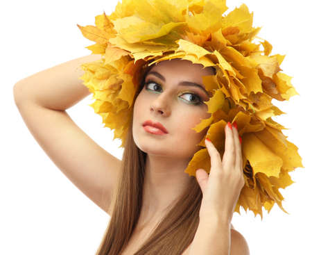beautiful young woman with yellow autumn wreath, isolated on white Stock Photo - 17051904