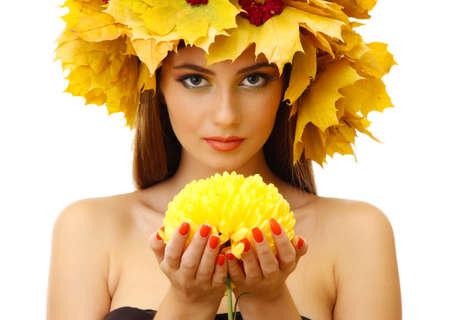 beautiful young woman with autumn wreath and chrysanthemum, isolated on white photo