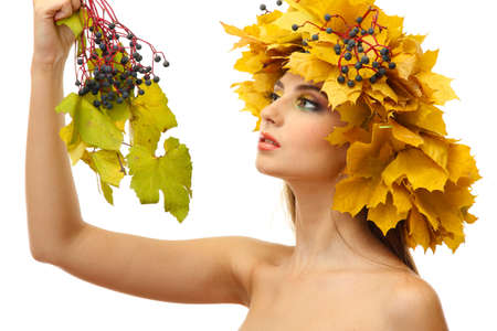 beautiful young woman with yellow autumn wreath, isolated on white Stock Photo - 17051900