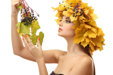 beautiful young woman with yellow autumn wreath, isolated on white Stock Photo - 17051903