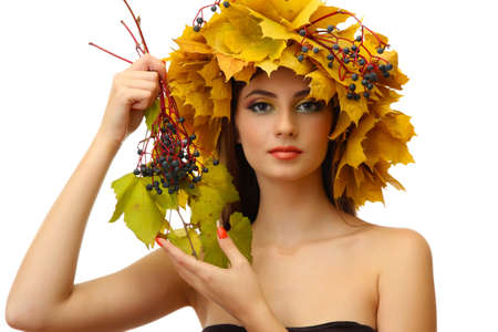 beautiful young woman with yellow autumn wreath, isolated on white Stock Photo - 17051907