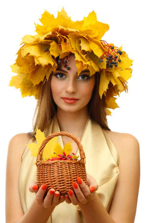 beautiful woman with wreath and basket with barberry, isolated on white Stock Photo - 17051911