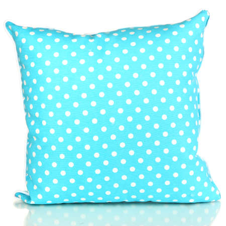 Blue bright pillow isolated on white photo