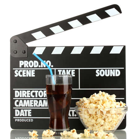 Movie clapperboard, cola and popcorn isolated on white Stock Photo - 16859494