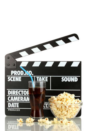 Movie clapperboard, cola and popcorn isolated on white Stock Photo - 16859395