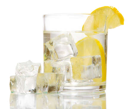 Ice cubes in glass with lemon isolated on white Stock Photo - 16859347