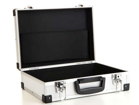 Opened silvery suitcase isolated on white Stock Photo - 16859404