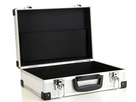 Opened silvery suitcase isolated on white Stock Photo - 16859404