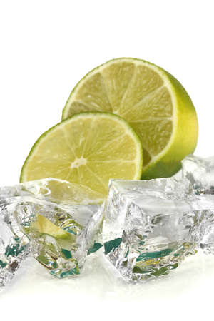Ice cubes with lime isolated on white Stock Photo - 16859437