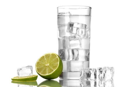 Ice cubes in glass with lime isolated on white Stock Photo - 16859337