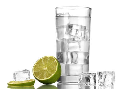 Ice cubes in glass with lime isolated on white Stock Photo - 16859346