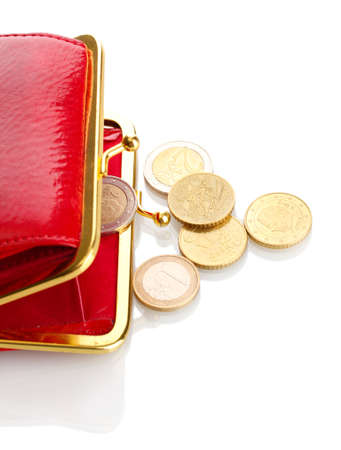 female red wallet with coins isolated on white photo