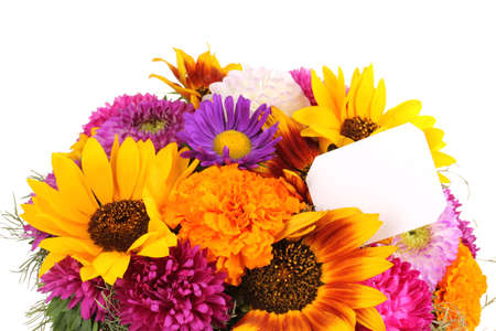 ronantic: Beautiful bouquet of bright flowers with paper note close-up isolated on white Stock Photo