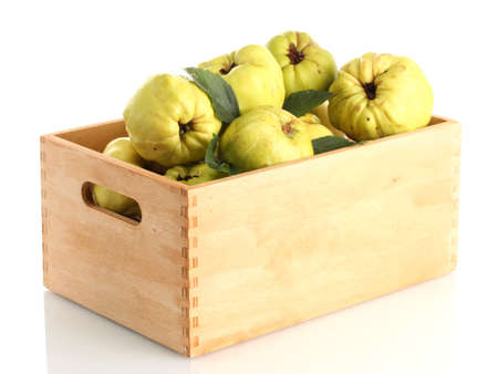 sweet quinces with leaves in wooden crate, isolated on white photo