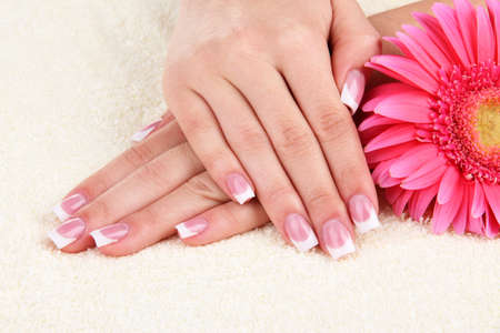 Woman hands with french manicure and flower on towel Stock Photo - 16861056