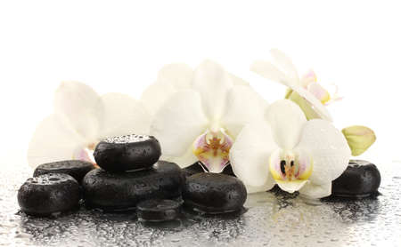Spa stones and orchid flowers, isolated on white  Stock Photo - 16860747