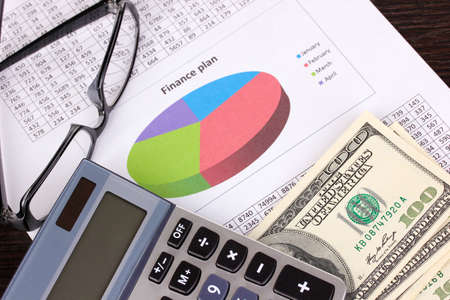 Documents, money and glasses close-up Stock Photo - 16895465
