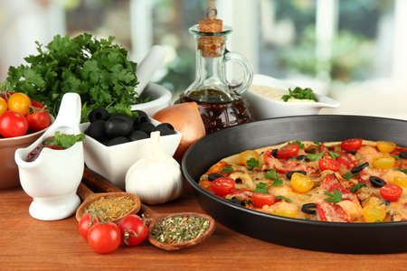 colorful composition of delicious pizza, vegetables and spices on wooden background close-up Stock Photo - 16895399