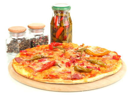 Tasty pepperoni pizza with vegetables on wooden board isolated on white Stock Photo - 16894856
