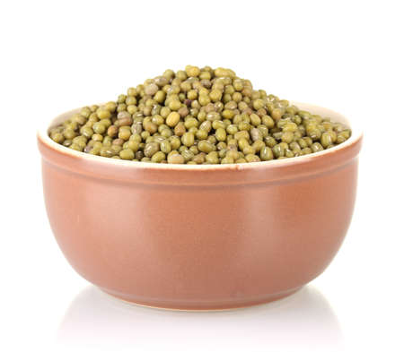 Green mung beans in bowl isolated on white Stock Photo - 16895061