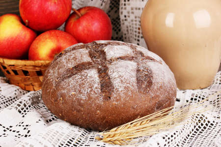 Rye bread on autumn composition background close-up photo