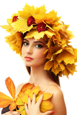 beautiful young woman with yellow autumn wreath, isolated on white Stock Photo - 17282932
