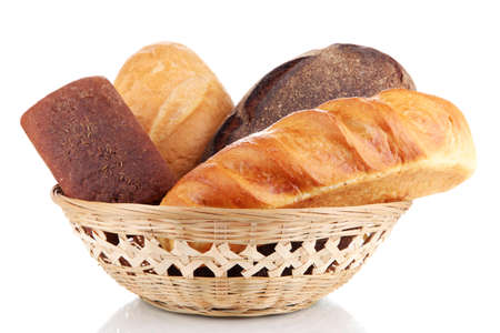 Fresh bread in basket isolated on white Stock Photo - 16911816