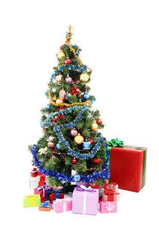 Decorated Christmas tree with gifts isolated on white Stock Photo - 16911384