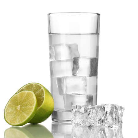 Ice cubes in glass with lime isolated on white Stock Photo - 16911205