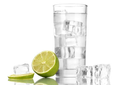 Ice cubes in glass with lime isolated on white Stock Photo - 16910839